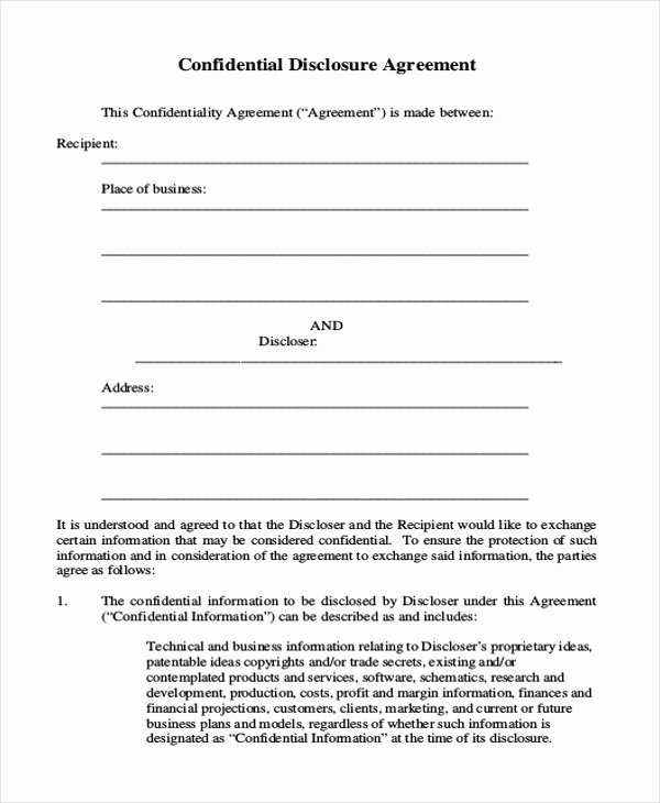 Confidentiality Clause for Documents Unique Sample Confidentiality Agreement form 9 Free Documents