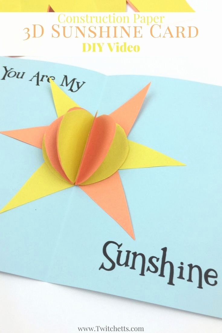 Construction Paper Crafts for Adults Unique Construction Paper 3d Sunshine Card Video