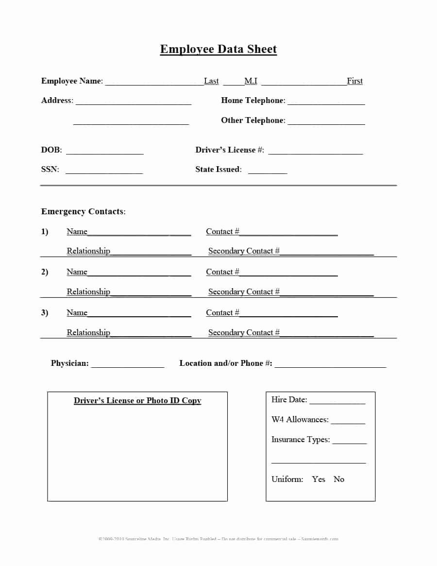 Contact Information form Template Best Of 47 Printable Employee Information forms Personnel
