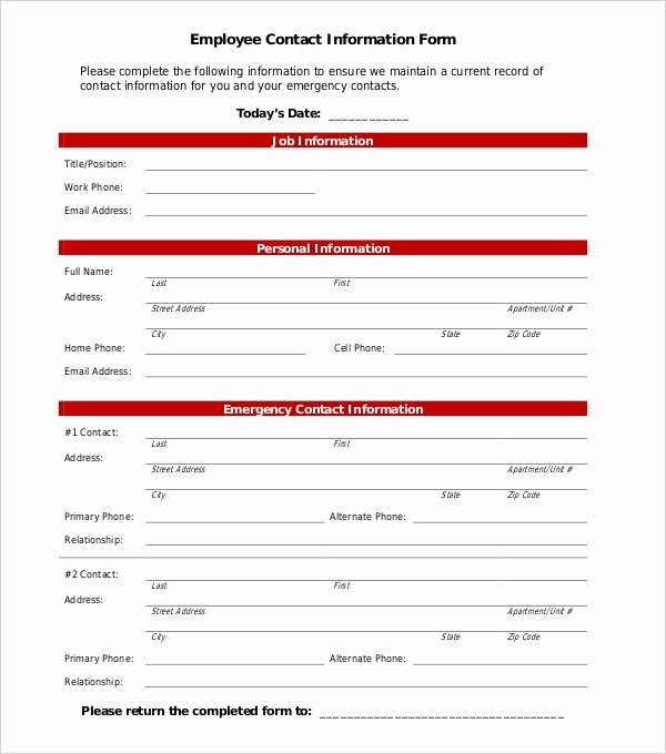 Contact Information form Template Best Of Free 11 Sample Employee Information forms