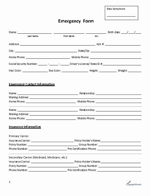 Contact Information form Template Luxury Emergency form Contact Daycare