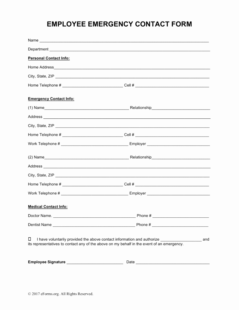 Contact Information form Template New Employee Contact Information Template – Employee Emergency