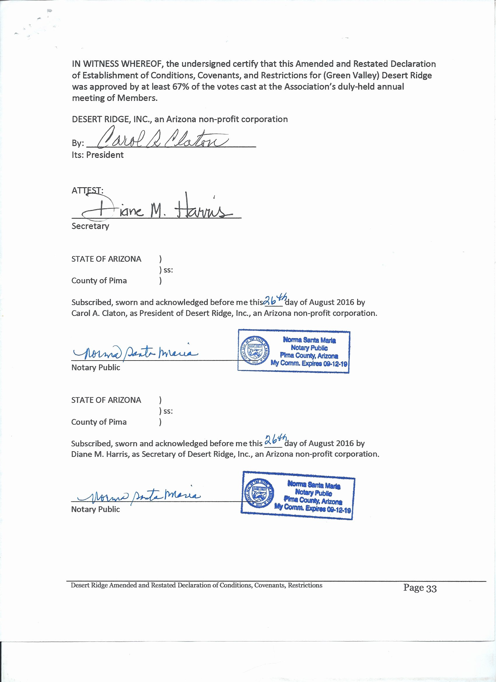 Contract Signature Page Example Beautiful Cc&rs Rules bylaws Legal Agreements Desert Ridge Hoa