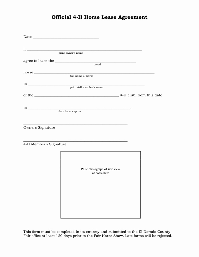 Contract Signature Page Example Inspirational Horse Lease Agreement In Word and Pdf formats