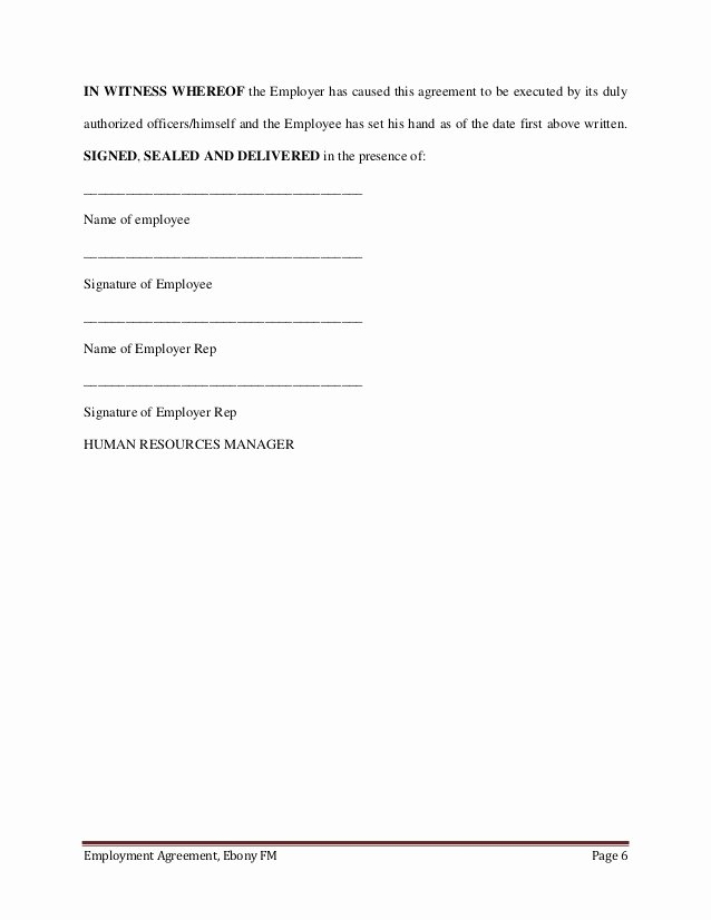 Contract Signature Page Example Unique Employment Agreement