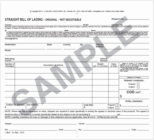 Conway Bill Of Lading Luxury Bill Lading form
