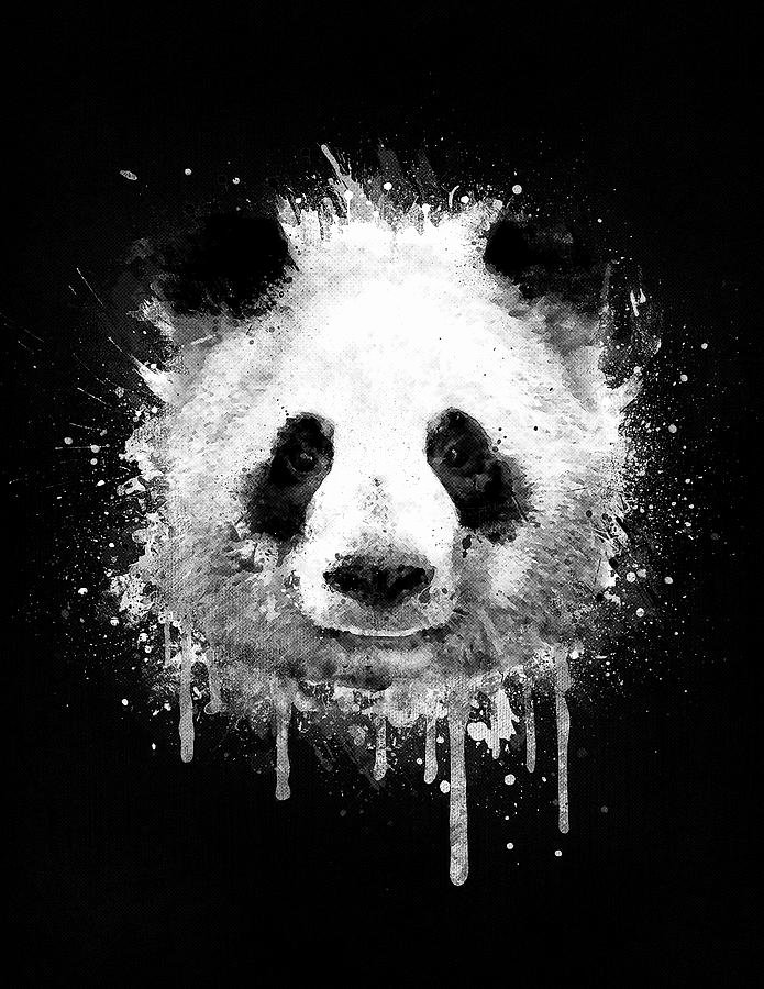 Cool Black and White Paintings Elegant Cool Abstract Graffiti Watercolor Panda Portrait In Black