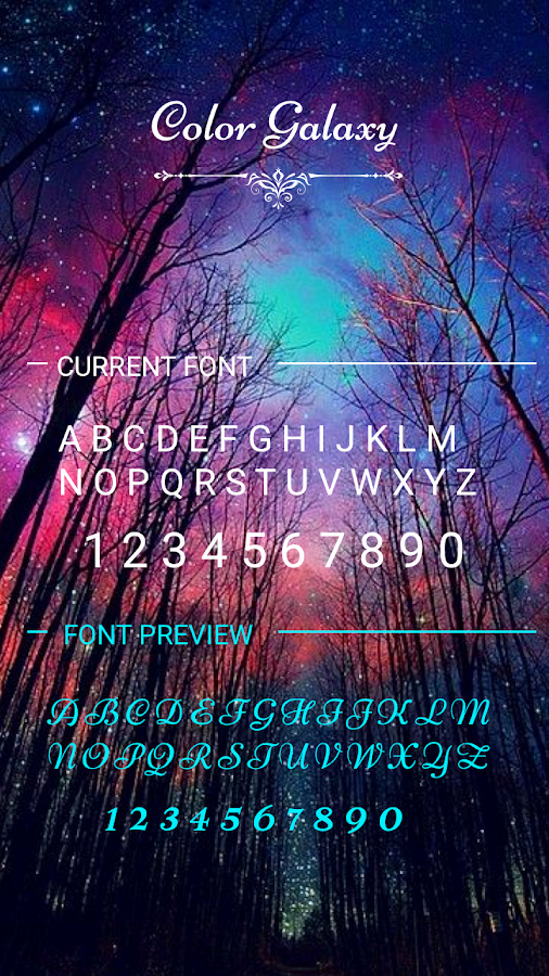Cool Fonts for androids Elegant Color Galaxy Font for Flipfont Cool Fonts Text android