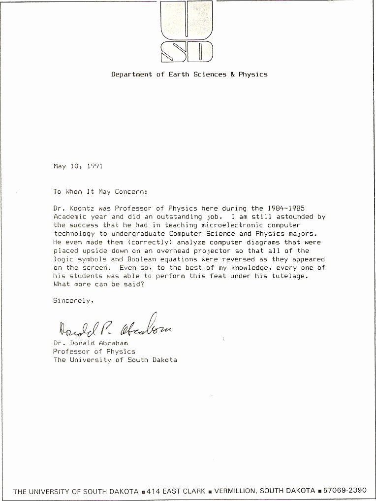 Copy Of Recommendation Letter Elegant News Articles and Other Material Relating to Bob Koontz