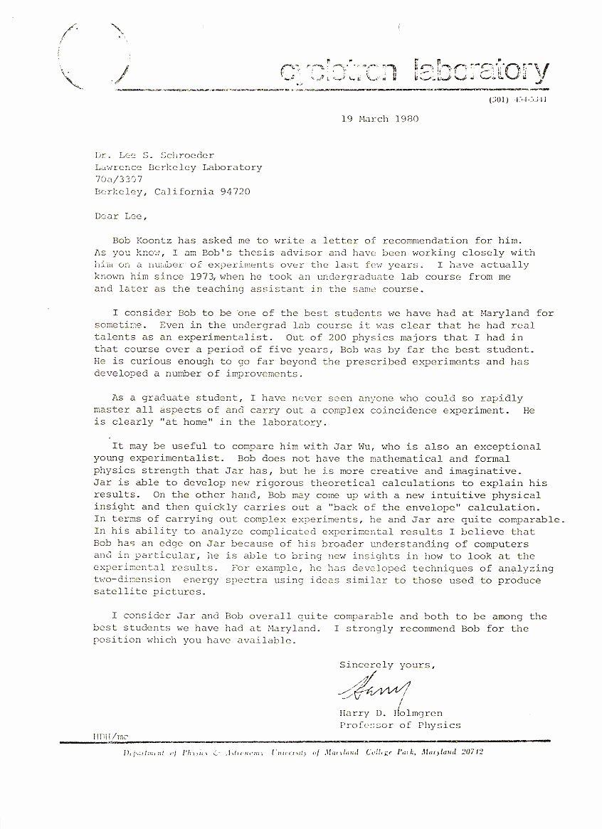 Copy Of Recommendation Letter Luxury News Articles and Other Material Relating to Bob Koontz