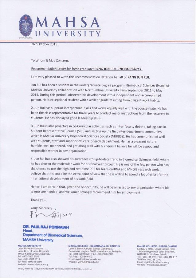 Copy Of Recommendation Letter Unique Re Mendation Letter From Hod Copy