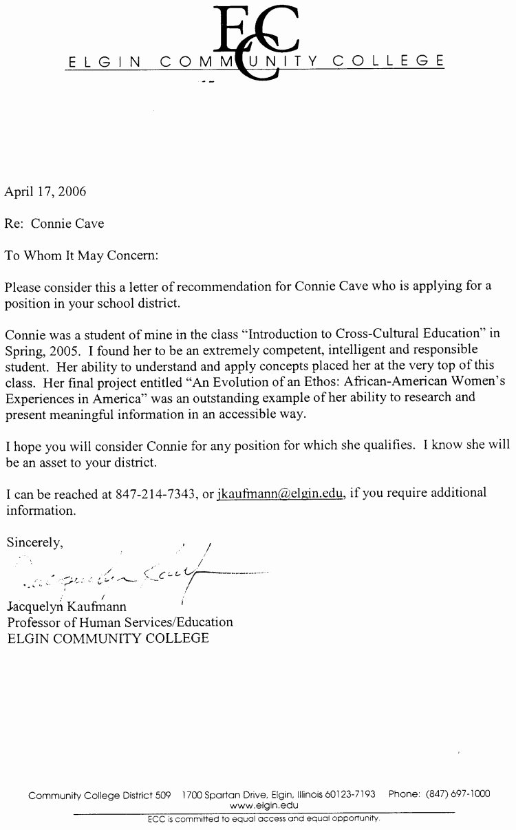 Copy Of Reference Letter Awesome Connie Cave Letters Of Re Mendation