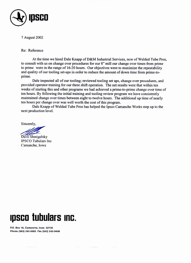 Copy Of Reference Letter Fresh Welded Tube Pros Mill Alignment References