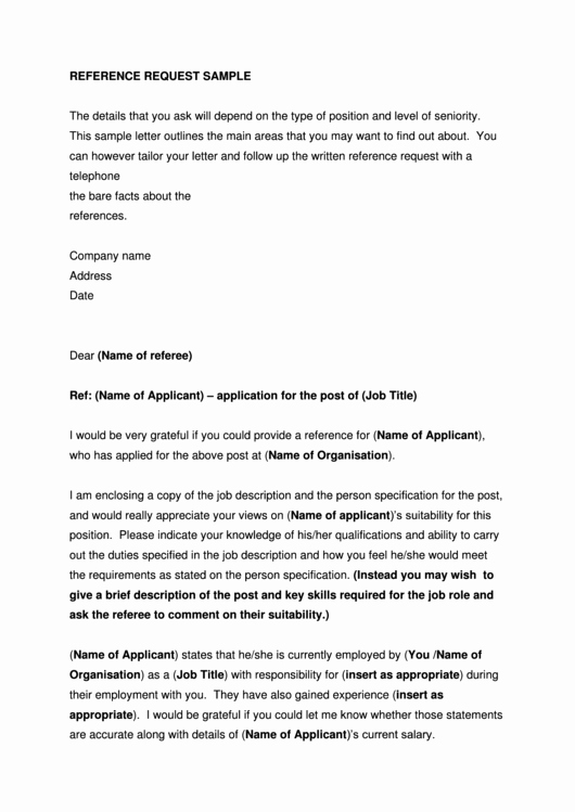 Copy Of Reference Letter Lovely Sample Reference Request Letter Template Printable Pdf
