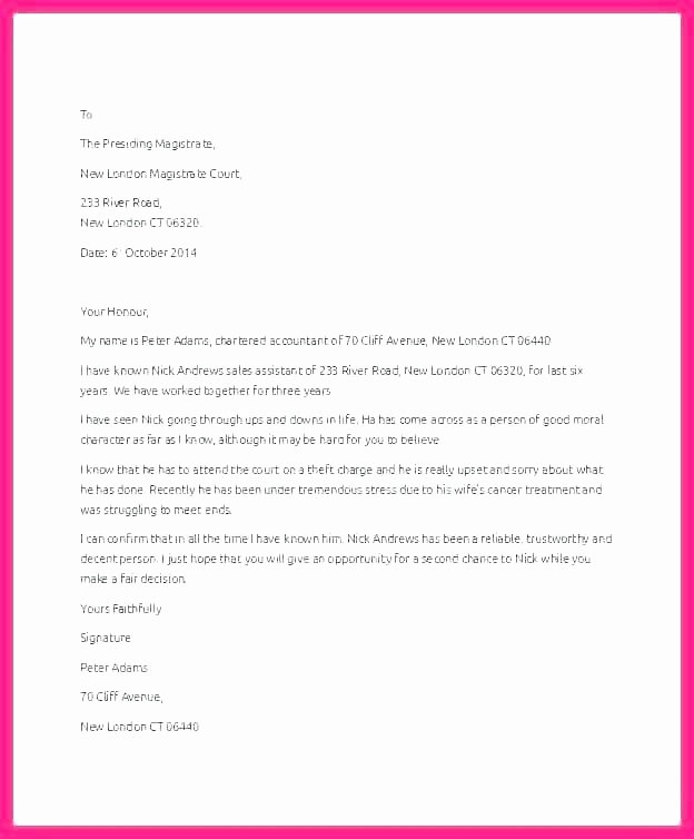 Copy Of Reference Letter New Character Letter to Judge Template