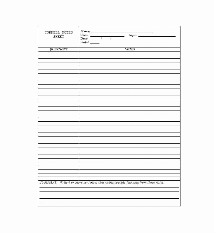 Cornell Note Template Word Awesome 36 Cornell Notes Templates & Examples [word Pdf]