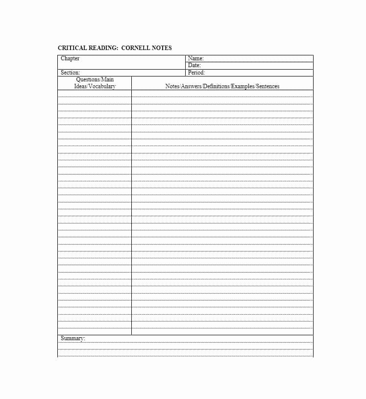 Cornell Note Template Word Best Of 36 Cornell Notes Templates & Examples [word Pdf