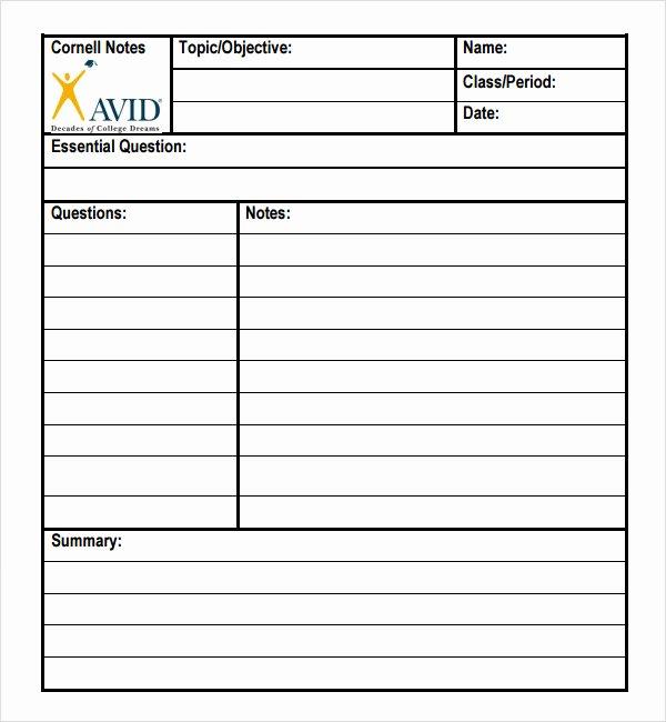 Cornell Note Template Word Elegant What is Cornell Notes Used for