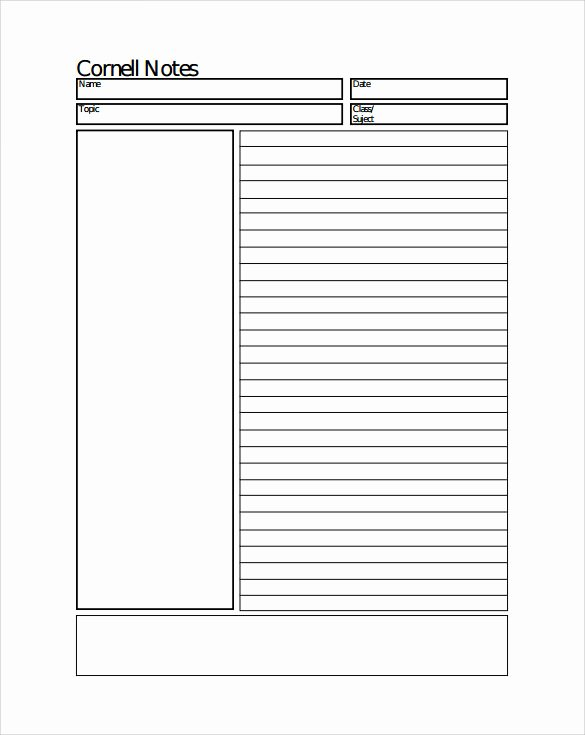 Cornell Note Template Word Inspirational Sample Cornell Notes Paper Template 7 Free Documents In