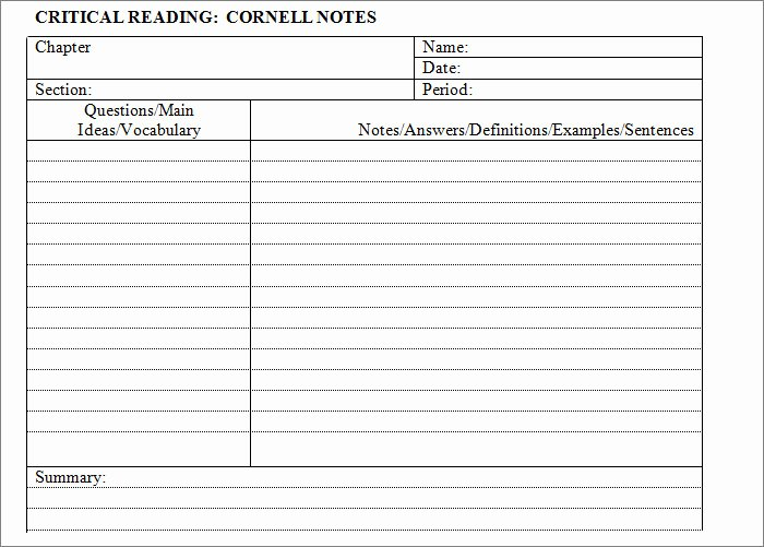 Cornell Note Template Word Lovely Cornell Notes Template 56 Free Word Pdf format