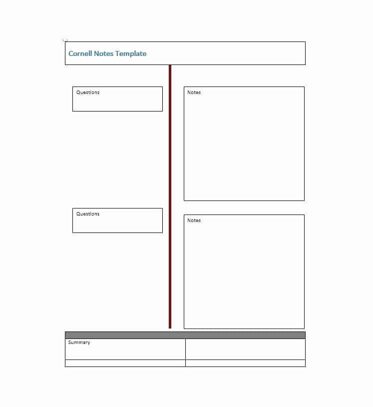 Cornell Note Template Word Unique 36 Cornell Notes Templates & Examples [word Pdf