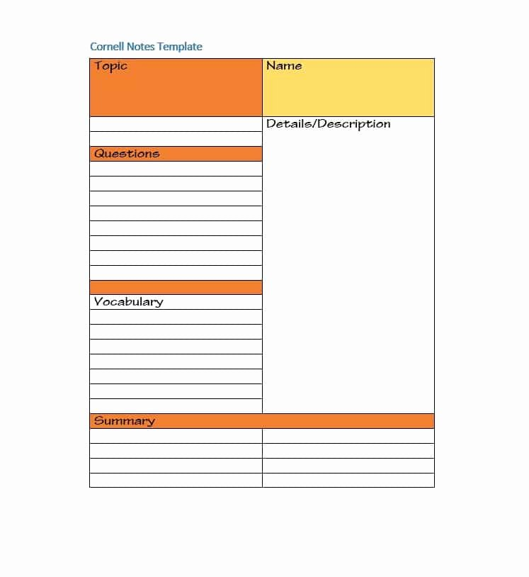 Cornell Note Template Word Unique 36 Cornell Notes Templates & Examples [word Pdf]