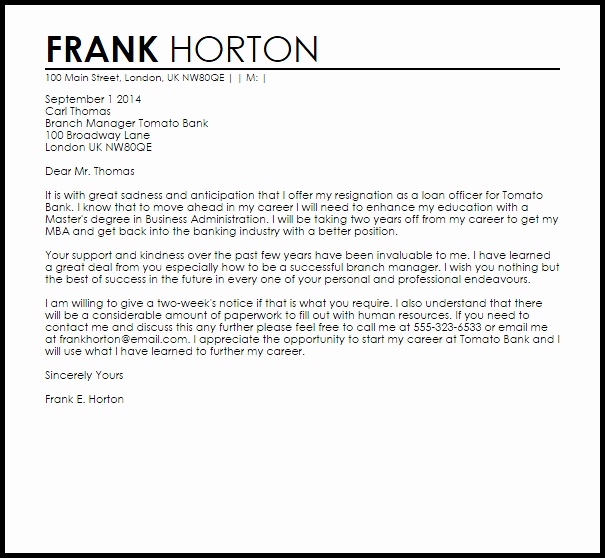 Corporate Officer Resignation Letter Elegant Bank Resignation Letter Example