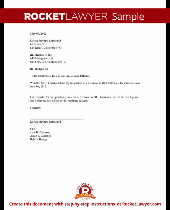 Corporate Officer Resignation Letter Elegant Ficer Resignation Letter Ceo Cfo Etc Template with
