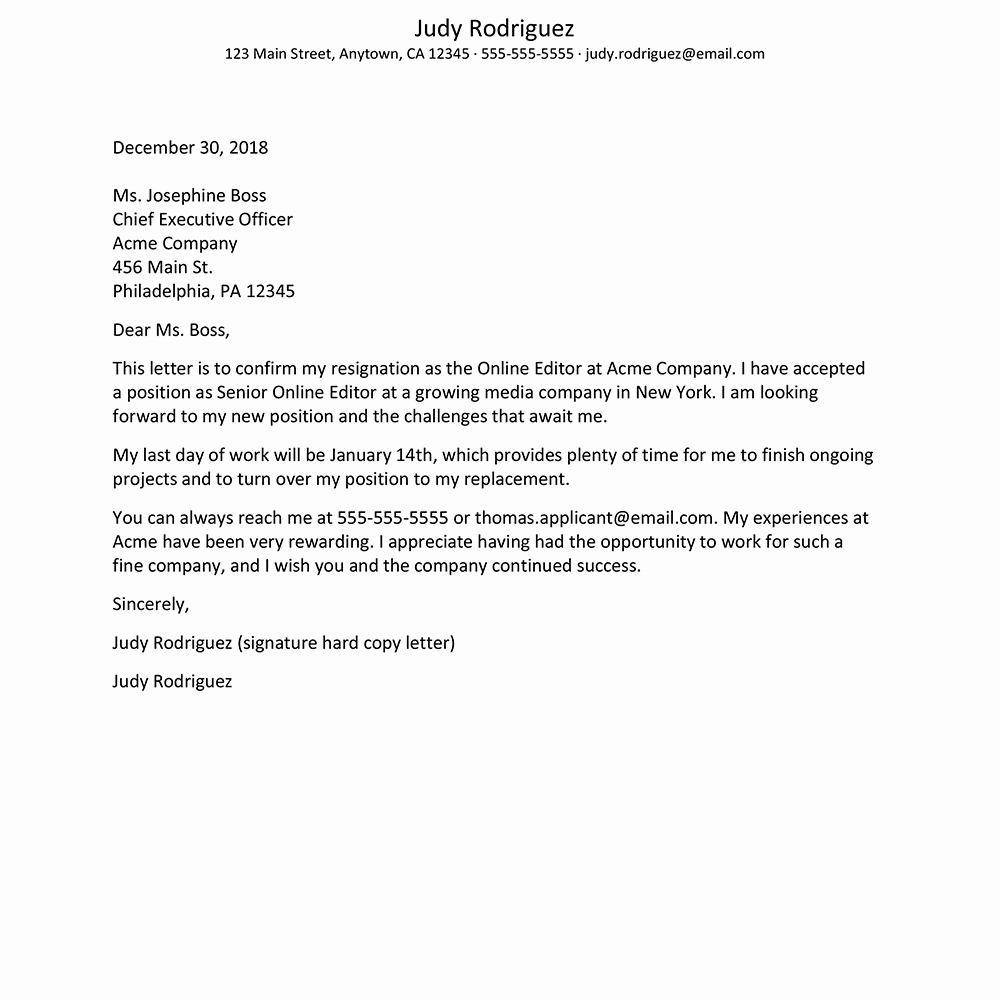 Corporate Officer Resignation Letter Elegant Resignation Letter Sample with Thank You