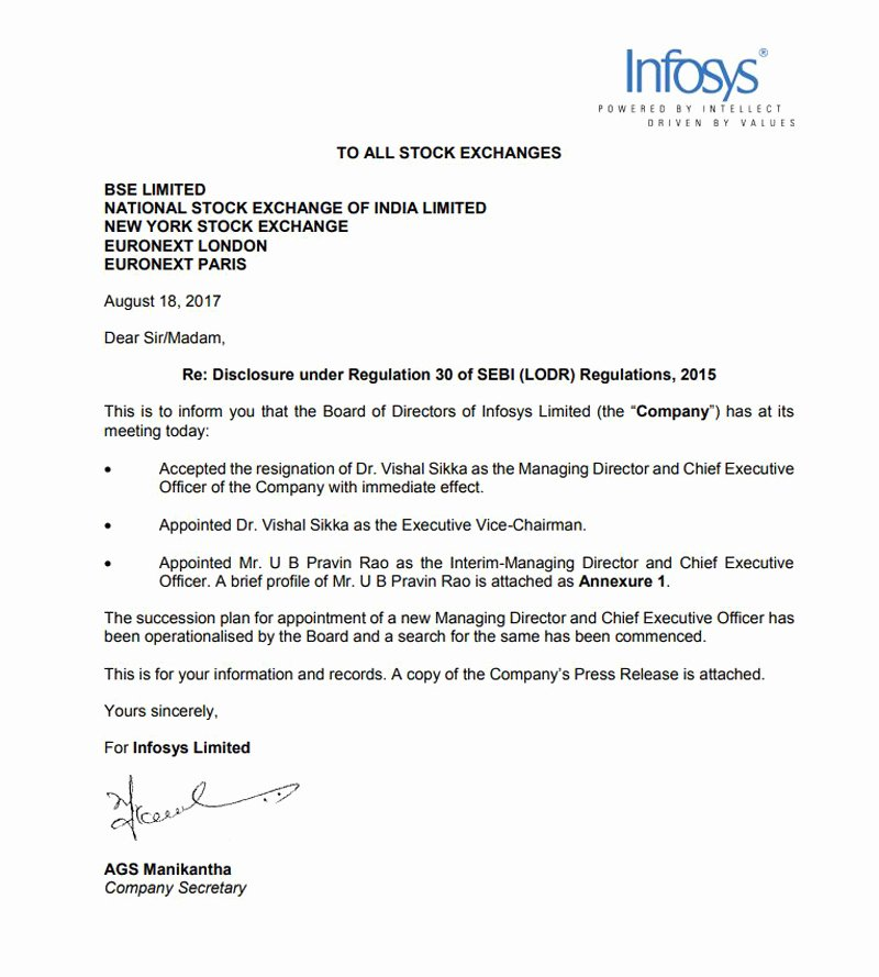 Corporate Officer Resignation Letter Lovely Infosys Vishal Sikka Resigns as Md and Ceo Of Infosys