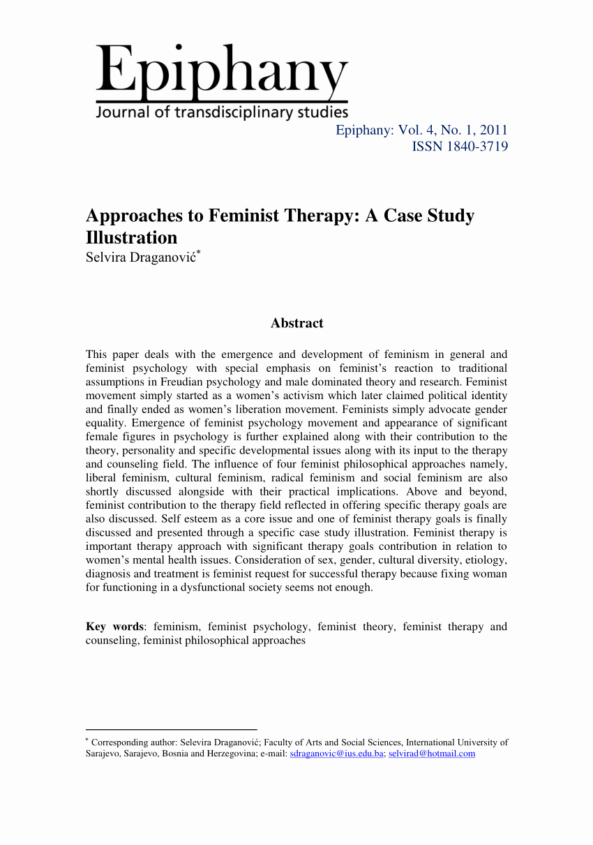 Counseling Case Study Example New Pdf Approaches to Feminist therapy A Case Study