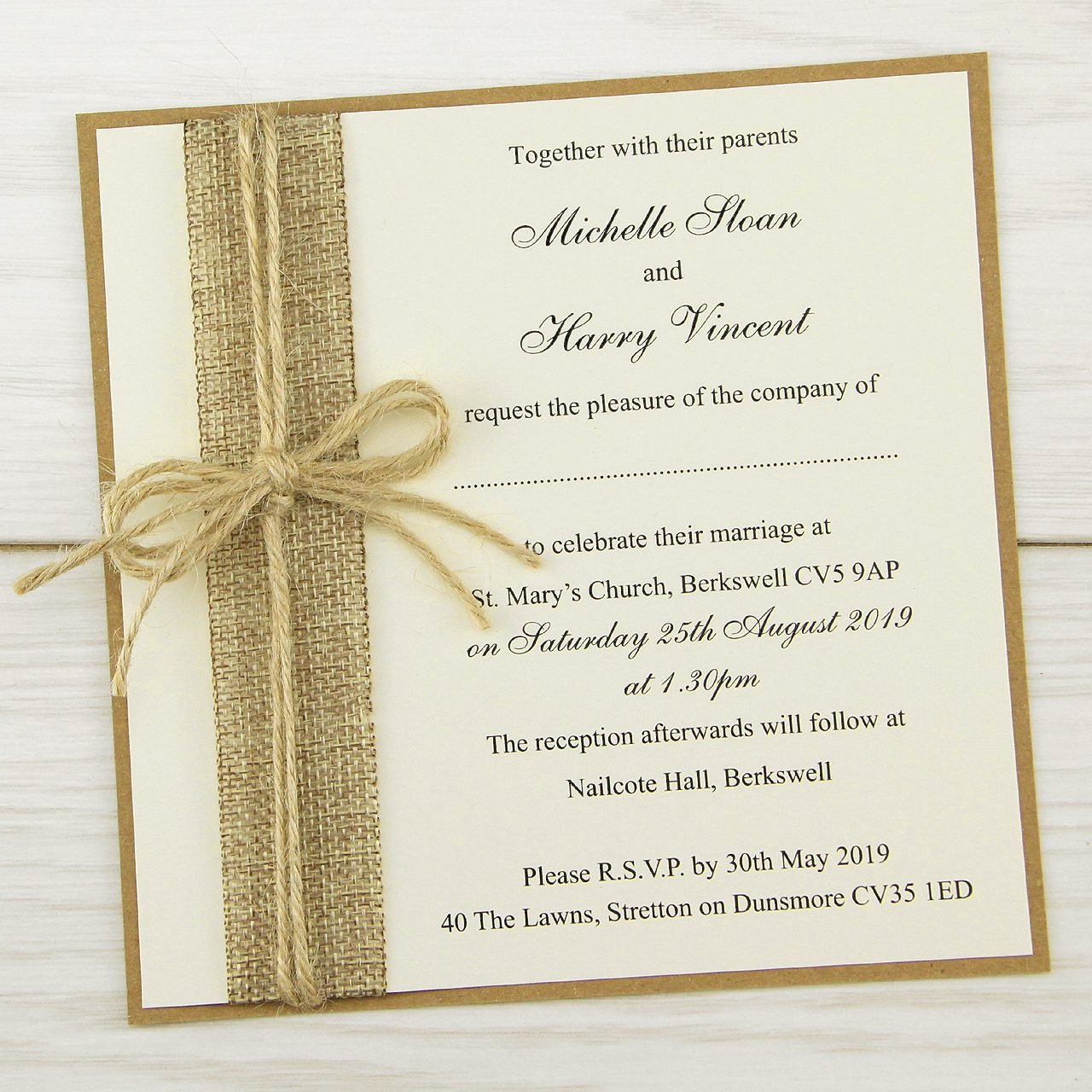 Country Wedding Invitation Ideas Awesome Rustic Burlap Layered Square Wedding Invitation