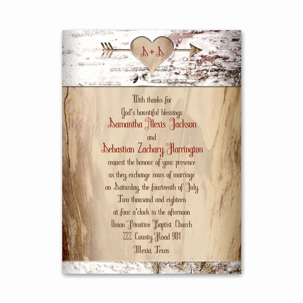 Country Wedding Invitation Ideas Fresh Aged Birch Petite Invitation