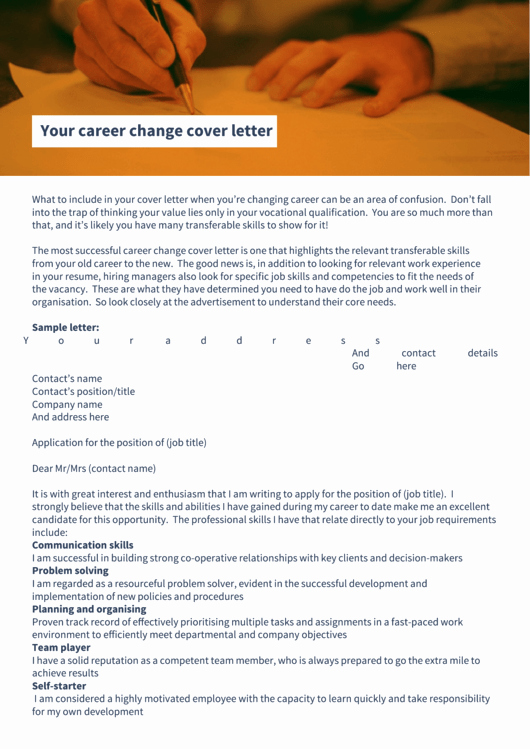 Cover Letter Career Change Awesome Career Change Cover Letter Printable Pdf