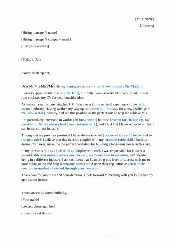 Cover Letter Career Change Beautiful Sample Career Change Cover Letter—guides Tips and Examples