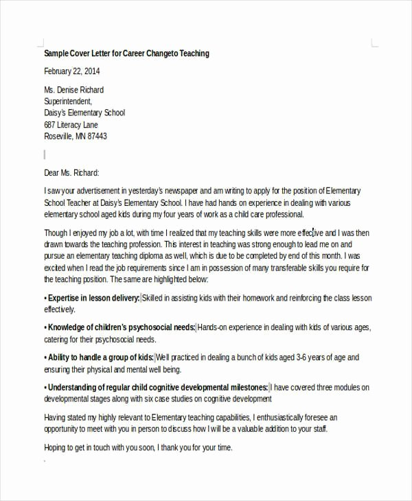 Cover Letter Career Change Luxury Cover Letter Template when Changing Careers