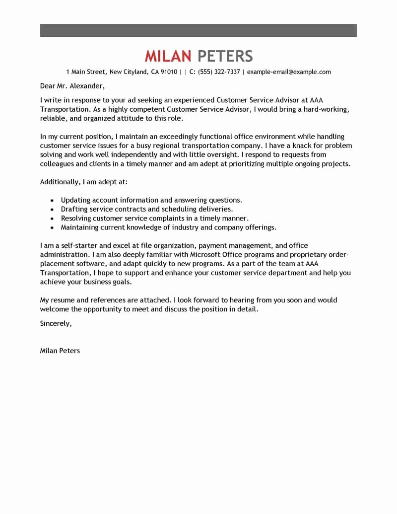 Cover Letter Customer Service Best Of Free Transportation Customer Service Advisor Cover Letter