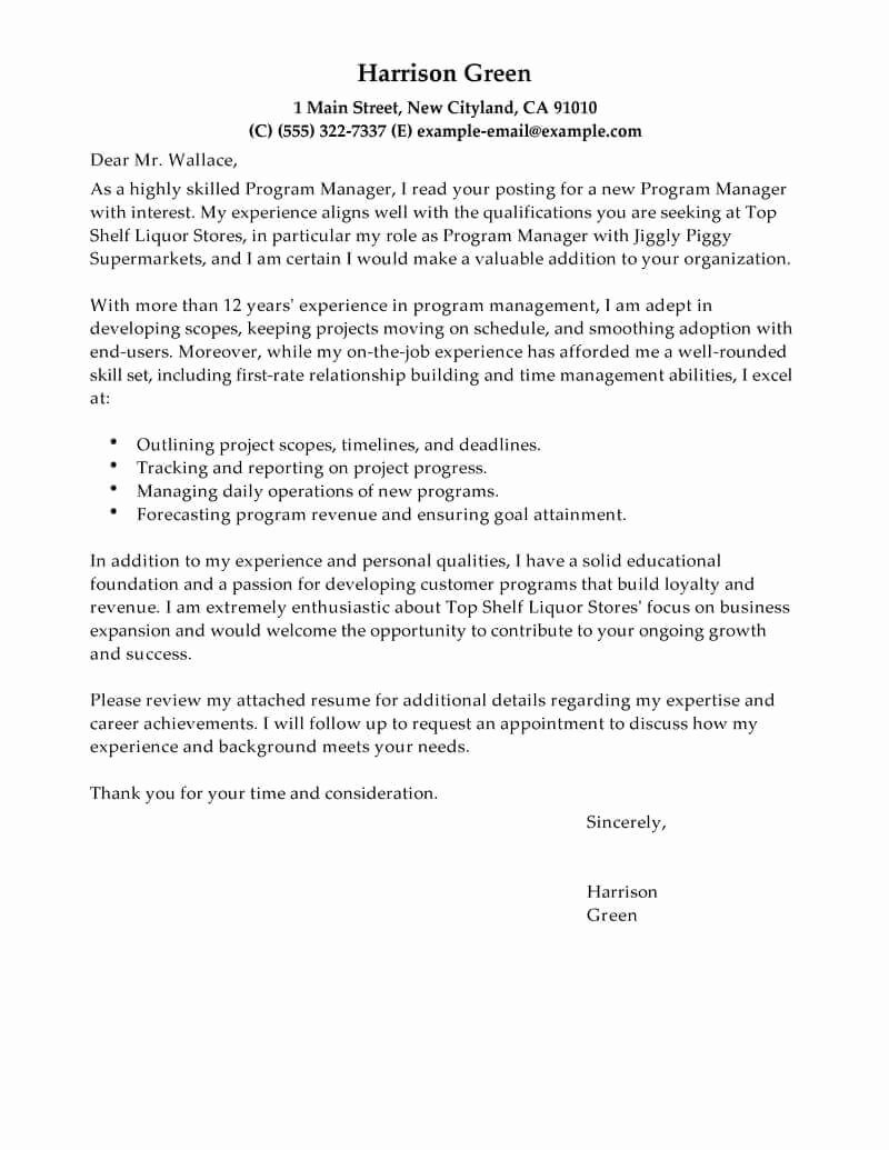 Cover Letter Examples Beautiful Best Management Cover Letter Examples