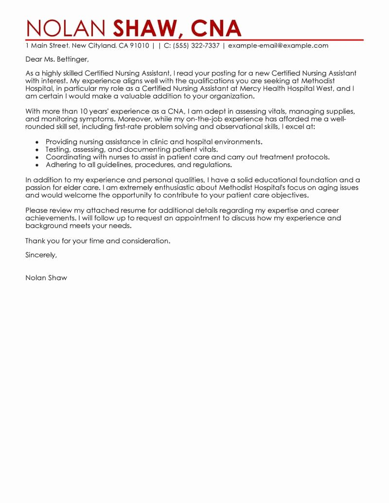 Cover Letter Examples for Nurses Beautiful Best Nursing Aide and assistant Cover Letter Examples