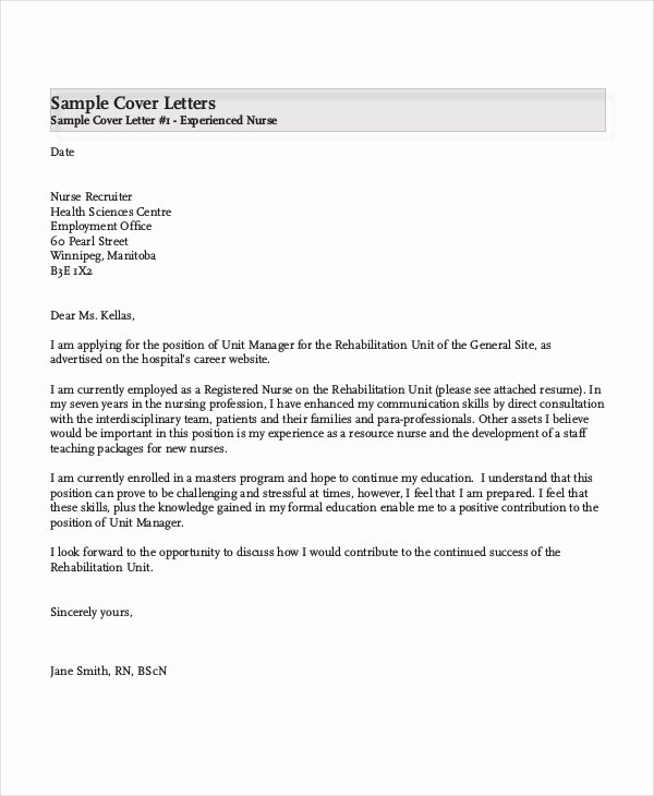 Cover Letter Examples for Nurses Unique Nursing Cover Letter Example 11 Free Word Pdf
