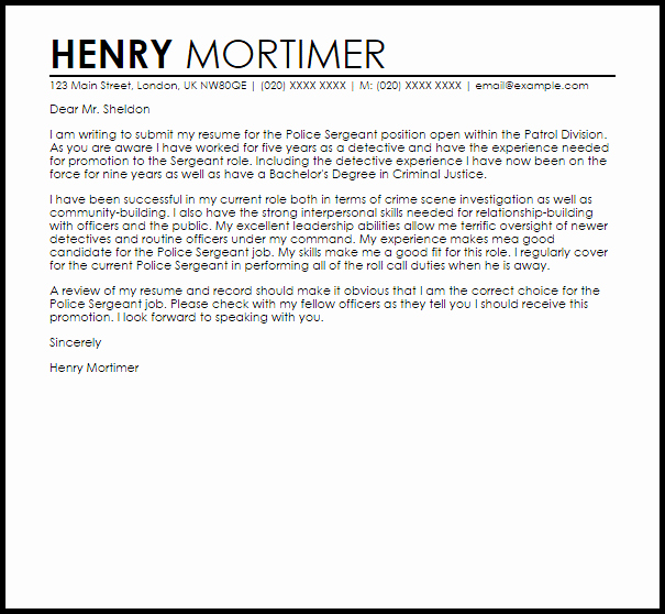 Cover Letter Examples for Promotion Lovely Sample Cover Letter Police Promotion Police Promotion
