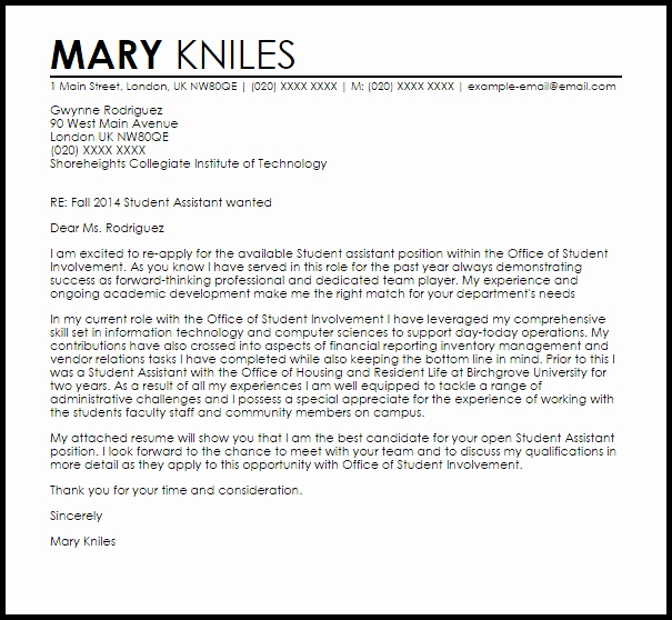 Cover Letter Examples for Students Best Of Student assistant Cover Letter Sample