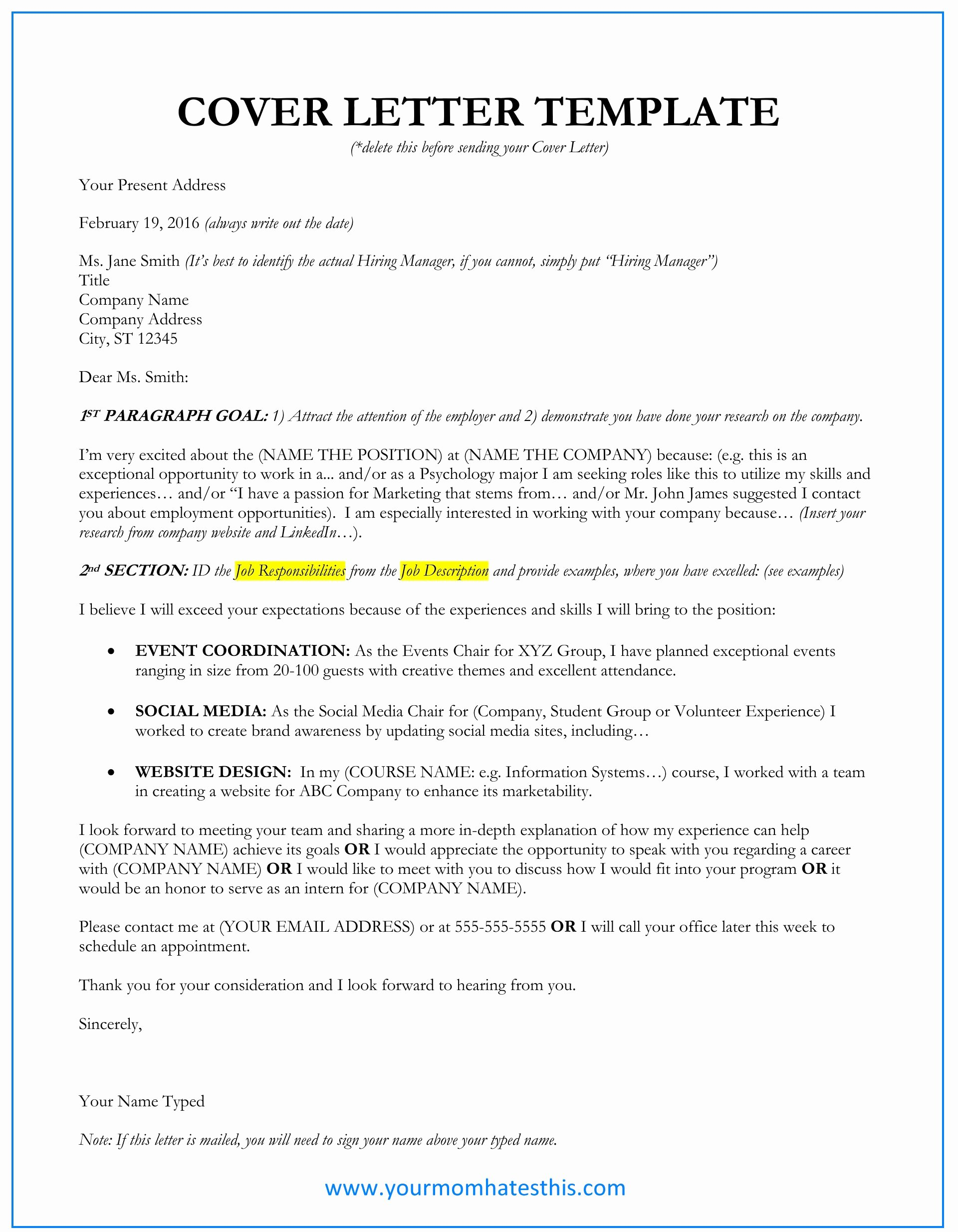 Cover Letter Examples Luxury Cover Letter Samples Download Free Cover Letter Templates