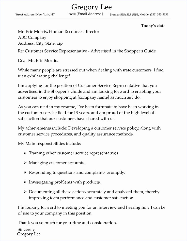 Cover Letter Examples New Customer Service Cover Letter Sample