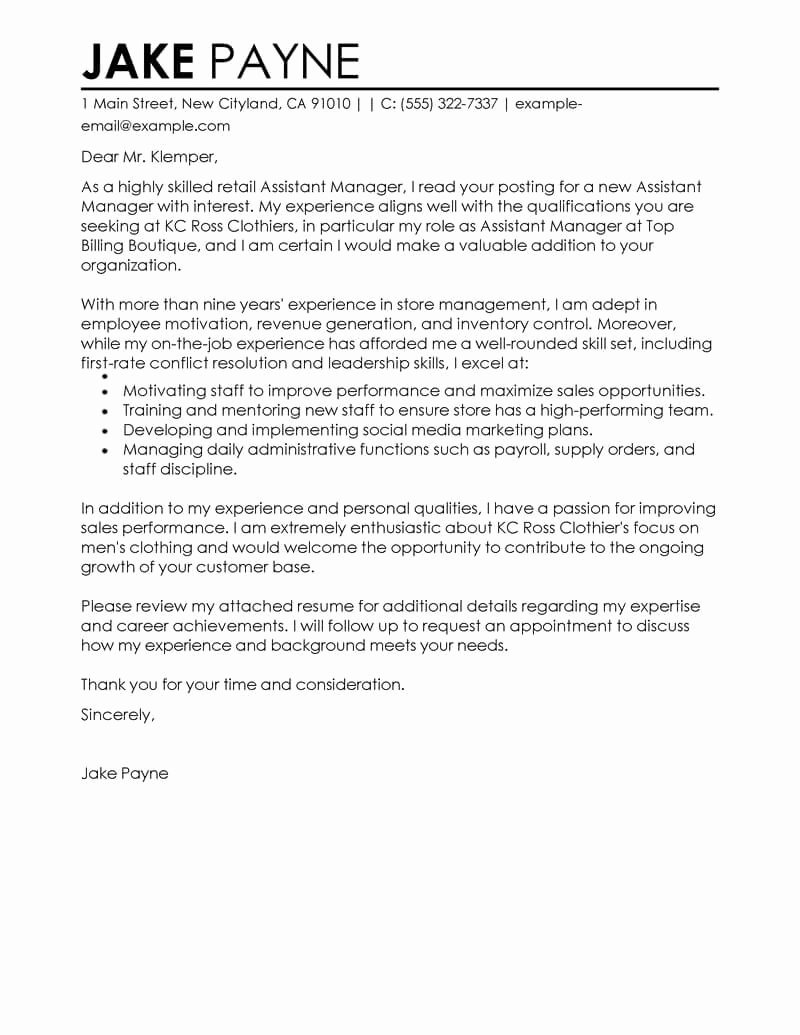 Cover Letter Examples Retail Fresh Best Retail assistant Manager Cover Letter Examples