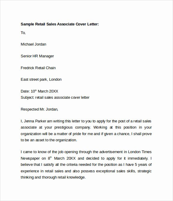 Cover Letter Examples Retail Unique Sample Retail Cover Letter Template 9 Download Free