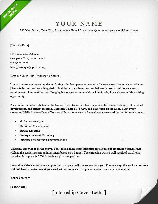 Cover Letter Examples Student Elegant Internship Cover Letter Sample