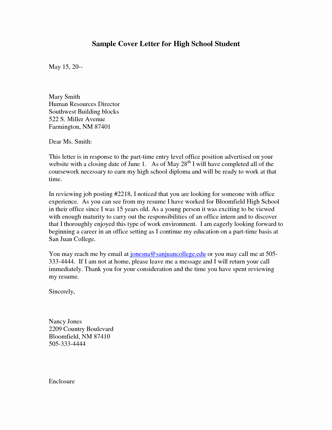 Cover Letter Examples Student Inspirational Sample Cover Letter for High School Student with No Work