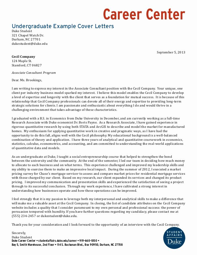 Cover Letter Examples Student Luxury Undergraduate Student Example Cover Letters