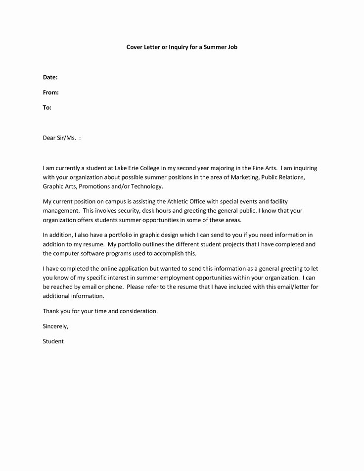 Cover Letter Examples Student Unique Resume Cover Letter Examples Summer Job Govt Jobcover